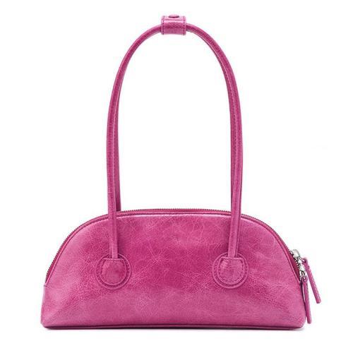 Sleek Soft Material Dual Zipper Closure High-Top Handled Mini Shoulder Bag