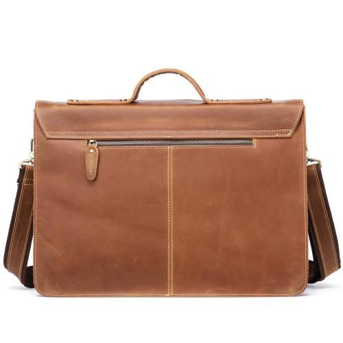 Fine Stitching Handled Gold-Tone Hardware Foldover Top Single Sling Laptop Bag