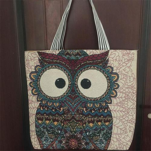 Casual Style Cute Cartoon Print Fine Embroidery Cotton-Linen Large Capacity Tote Shoulder Bag