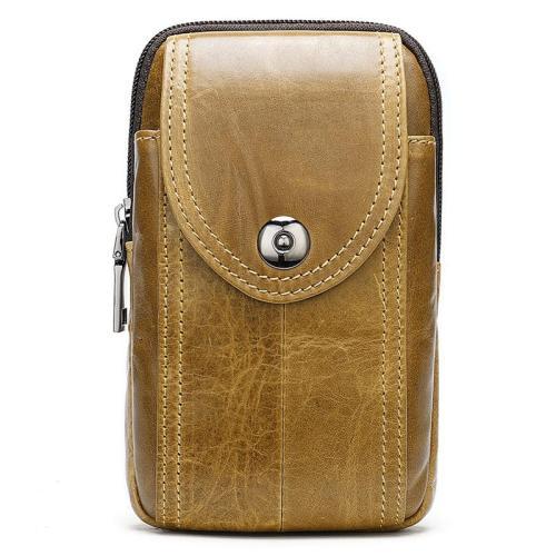 Men's Solid Color Leather Mini Belt Bag