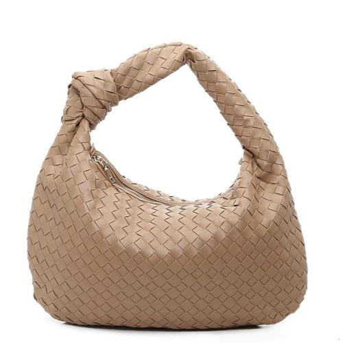 Interwoven Design Gold-Tone Hardware Zip Fastening Knotted Handle Hand Bag