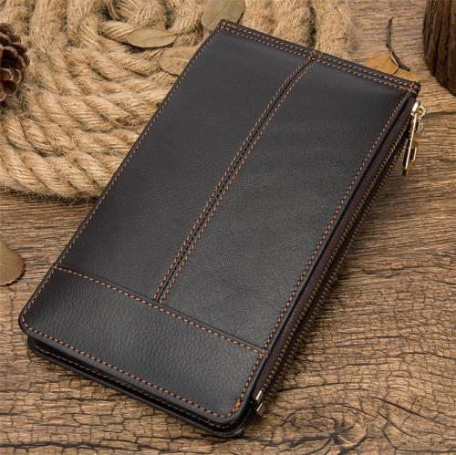 Contrast Stitching Organizational Layout Card Slot Genuine Leather Bifold Wallet