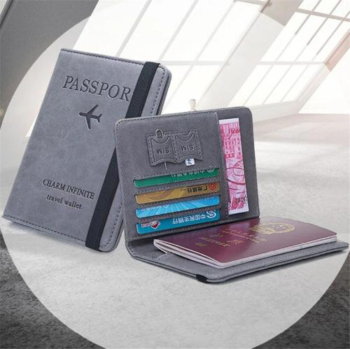 International Currency Pocket Card Slot Passport Holder RFID-Blocking Wallets