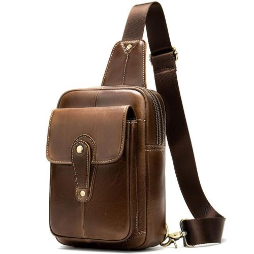 Men's Retro Style Soft Genuine Leather Large Capacity Adjustable Sling Chest Bag
