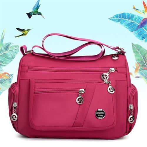 Multi-Pocket Zip Fastening Adjustable Shoulder Strap Casual Crossbody Bag