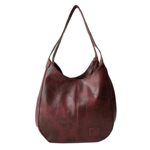 Vintage Style Large Capacity Zip Fastening Multi-Pocket Tote Bag Shoulder Bag