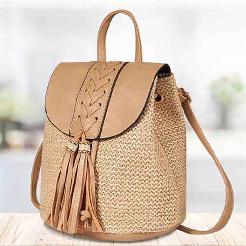 Bohemian Style Bucket Shape Woven Design Tassel Detailing Top Handle Backpack