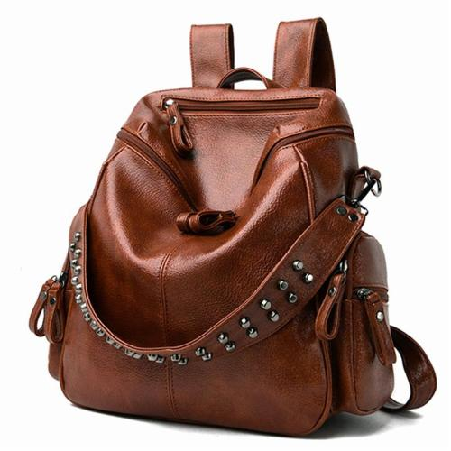 Casual Style Soft Material Rivet Deco Multi-Pocket Large Capacity Backpack