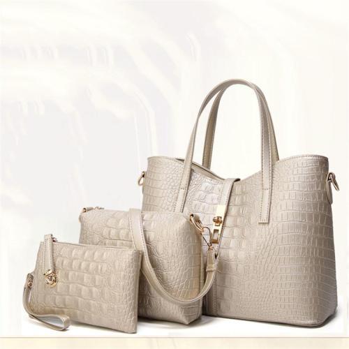 3-Piece Set Large Capacity Crocodile Embossed Tote Bag Crossbody Bag Clutch Bag