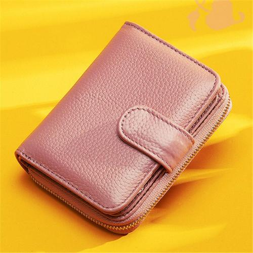 Women's Lightweight Gold-Tone Hardware Zip Fastening Card Slot Mini Wallet