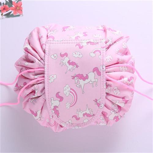 Women's Cosmetic Bag Drawstring Design Travel Storage Bag Large Capacity Folding Toilet Bag