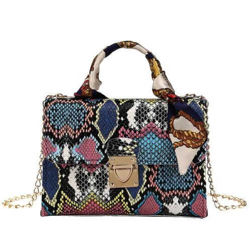 Snake Embossed Gold-Tone Hardware Detachable Chain Strap Magnetic Fastening Top-Handle Bag