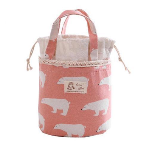 Aluminum Foil Lining Bucket Shape Dual Top Handle Lunch Bag