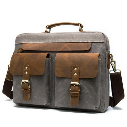 Mens Vintage Patchwork Business 14 Inch Laptop Briefcase Leather Handbags
