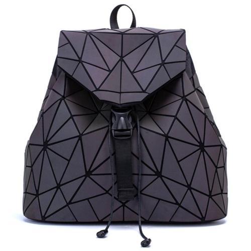 Drawstring Closure Foldover Top Geometric Embossed Design Backpack
