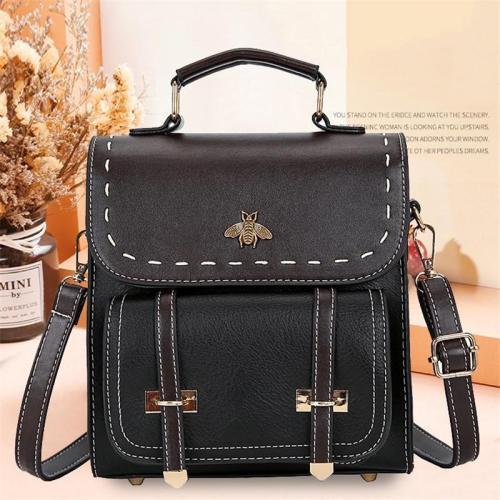 Vintage Two-Way Carry Adjustable Shoulder Strap Gold-Tone Hardware Backpack Crossbody Bag
