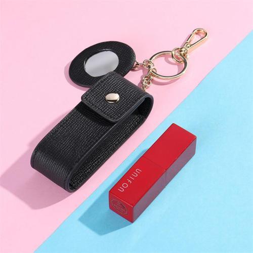 Elegant Leather Cosmetic Bag Fashion Lipstick Storage Bag With Mirror