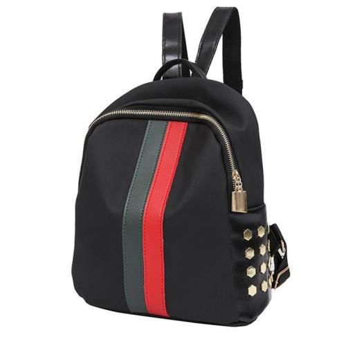 Contrast Patchwork Gold-Tone Hardware Single Top Handle Main Compartment Backpack