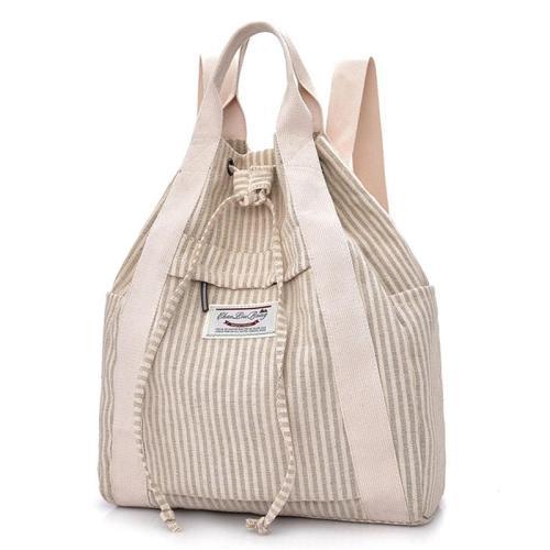 Minimalist Style Cotton Linen Front Zipper Pocket Top Handle Drawstring Closure Backpack
