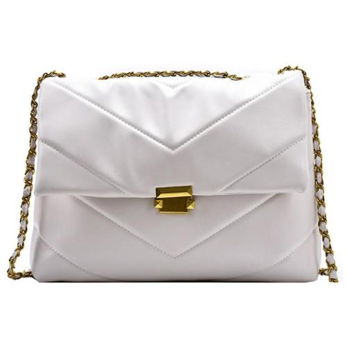 Casual Style Soft Material Gold-Tone Chain-Link Shoulder Strap Chevron Quilted Bag