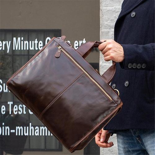 Mens Large Capacity Simple Style Vintage Business Briefcase Handbag