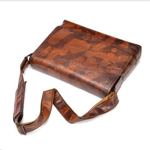 Mens Personality Style Chunky Soft Leather Vintage Messenger Bag Crossbody Bag Sling Shoulder Bag