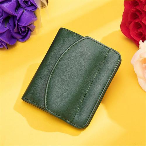 RFID Blocking Lightweight Simple Style Chunky Leather Mini Wallet