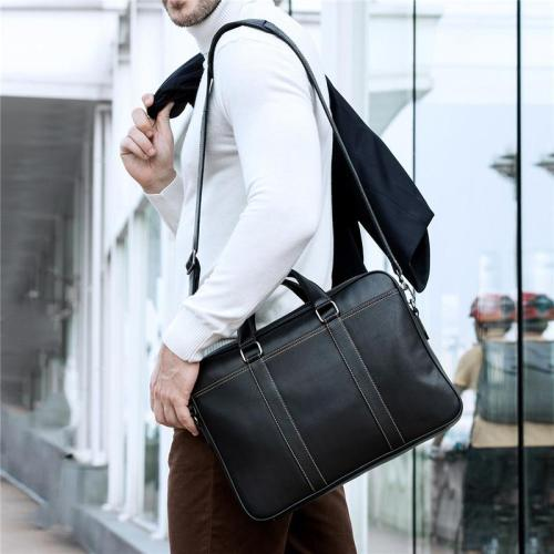 Business Leather Durable Handy Lightweight Briefcase Handbag With Large Capacity
