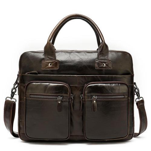 Vintage Durable Large Capacity Simple Style Business Bridfcase Handbag
