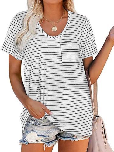 Loose Fit Round Neck Short Sleeve Striped Print Chest Pocket Straight Hem T-Shirt
