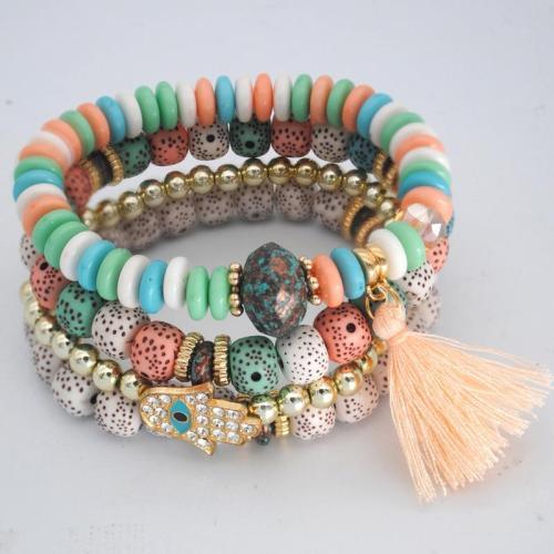 Bold Colorway Vibrant Beaded Tassel Embellishment Multi-Set Bracelet