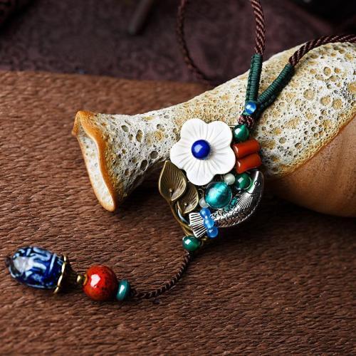Pretty Handmade Ceramic Pendant Vintage Necklace