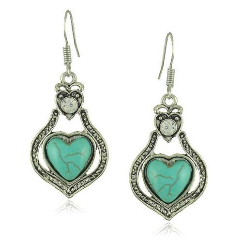 Vintage Boho Style Peach Heart Turquoise Pendant Earrings