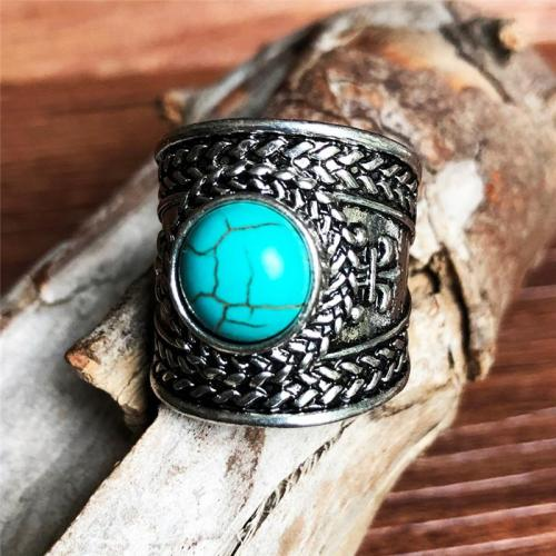 Comfortable Wear Open Design Plated Silver Turquoise Embellishment Ring