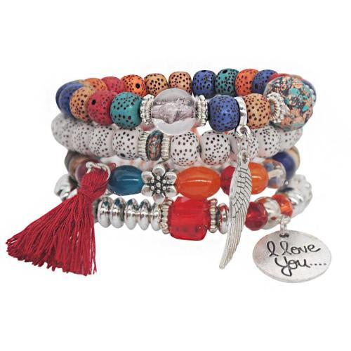 Graceful Silver Plated Beaded Tassel Embellishment Multi-Set Bracelet
