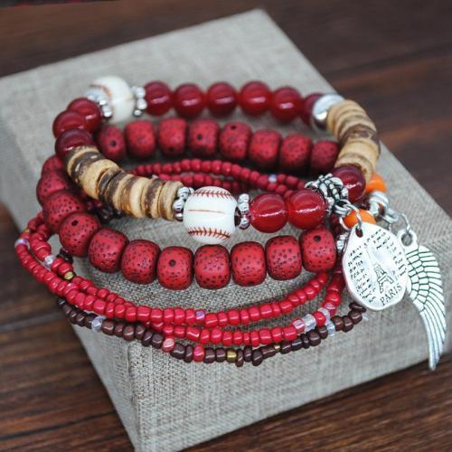 Stylish Multi Layers Beads With Metal Pendant Colorful Bracelet  Set
