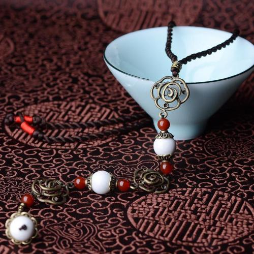 Trendy Bohemian Handmade Contrast Color Braided Costume Necklace