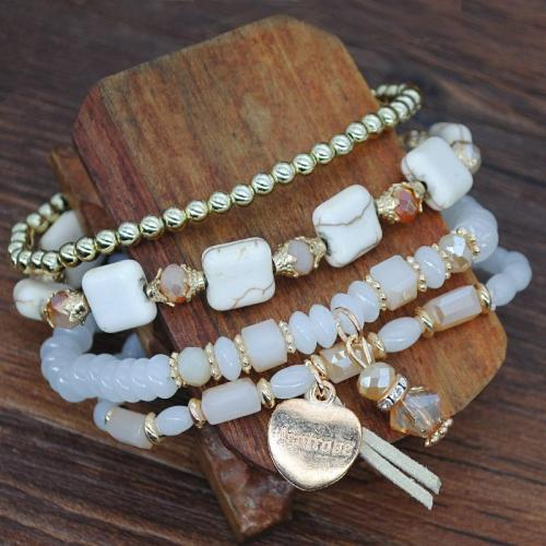 Casual Four Layers Crystal Beads With Square Tophi Elastic Bracelet Set