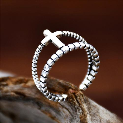 Cross Embellishment Antique Effect Silver-Tone Hardware Adjustable Ring