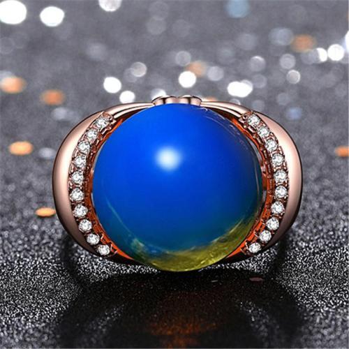 Graceful Plated Rose Gold Blue Amber Embedded Adjustable Ring