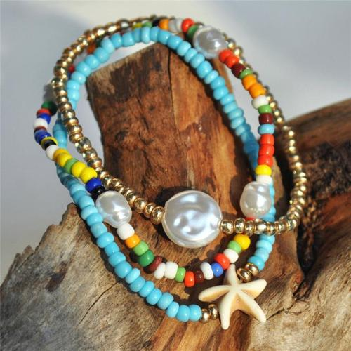 Casual Handmade Colorful 3 Layers String Beads With Pearl Bracelet Set
