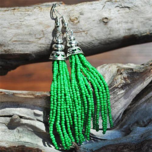 Boho Style Rice Bead Tassel Earrings Long Handmade Beaded Earrings