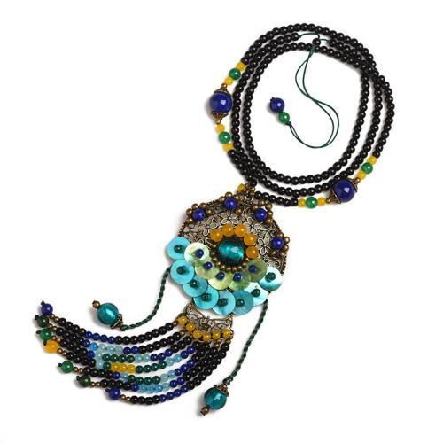 Handmade Exquisite Coloured Glaze Shell Beaded Dangle Pendant Necklace