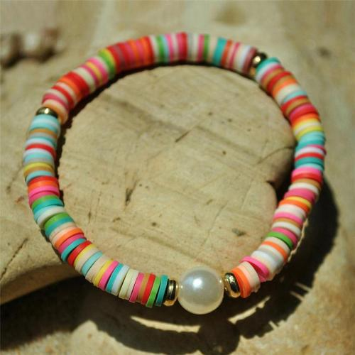 Stylish Colorful Polymer Clay With Pearl Elastic Bracelet