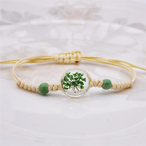Simple Style Preserved Flower Decoration Handknitted Bracelet