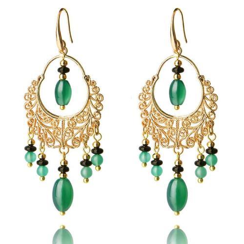 Elegance Art Hoop Trendy Pendant Tassel Dangle Earrings