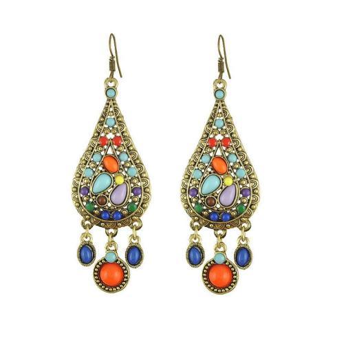 Vintage Bohemian Colorful Drop-Shaped Tassel Earrings