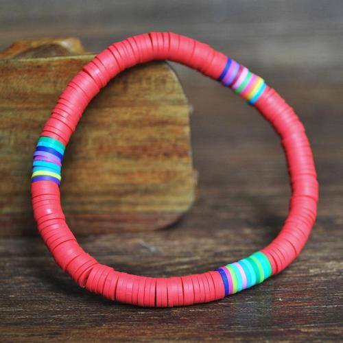 Simple Style Colorful Polymer Clay Elastic Bracelet