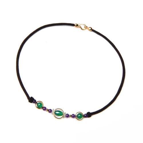 Vintage Green Agate Beaded Multicolor Necklace For Women