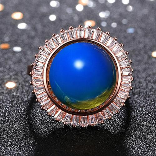 Simple Style Casual Plated Rose Gold Blue Amber Adjustable Ring
